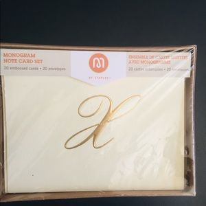 Accessories - Embossed Monogram Note Cards Letter X